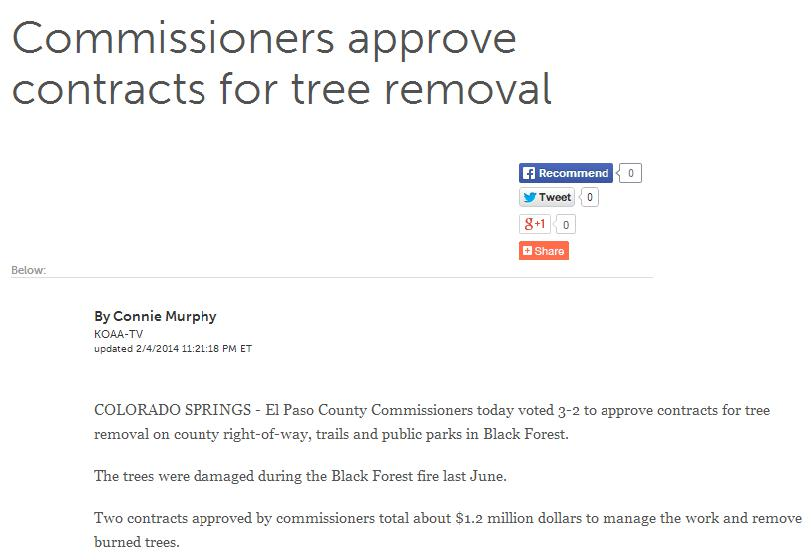 commissioners approve contracts for tree removal